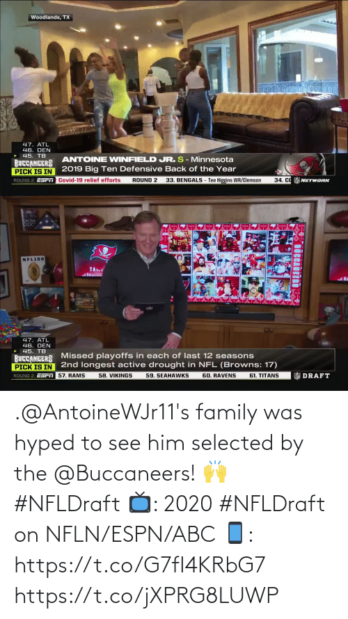 ABC: .@AntoineWJr11's family was hyped to see him selected by the @Buccaneers! 🙌 #NFLDraft   📺: 2020 #NFLDraft on NFLN/ESPN/ABC 📱: https://t.co/G7fI4KRbG7 https://t.co/jXPRG8LUWP