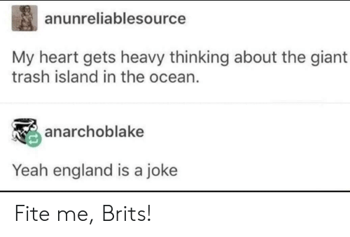 brits: anunreliablesource  My heart gets heavy thinking about the giant  trash island in the ocean  anarchoblake  Yeah england is a joke Fite me, Brits!
