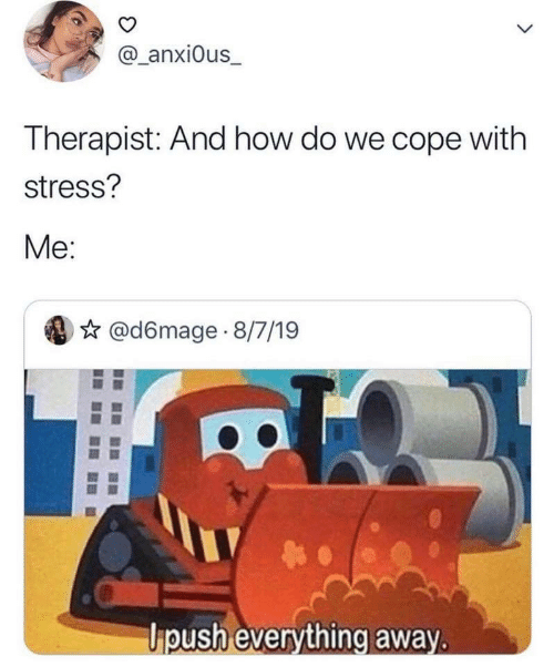 How, Stress, and Everything: @_anxi0us_  L  Therapist: And how do we cope with  stress?  Me:  @d6mage 8/7/19  ipush everything away.