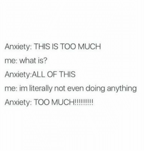 Too Much, Anxiety, and What Is: Anxiety: THIS IS TOO MUCH  me: what is?  Anxiety:ALL OF THIS  me: im literally not even doing anything  Anxiety: TOO MUCH!!!
