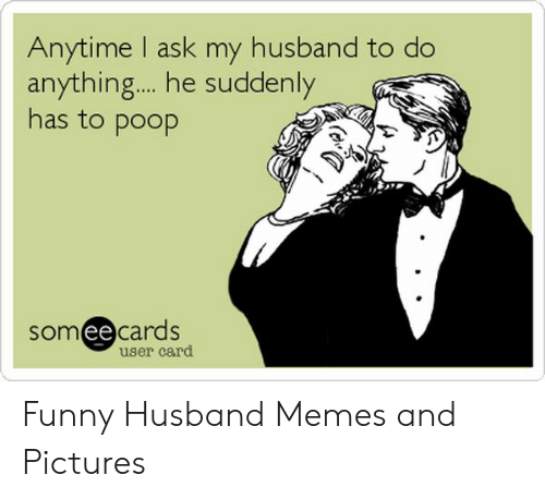 Funny, Memes, and Poop: Anytime I ask my husband to do  anything... he suddenly  has to poop  somee cards  ее  user card Funny Husband Memes and Pictures