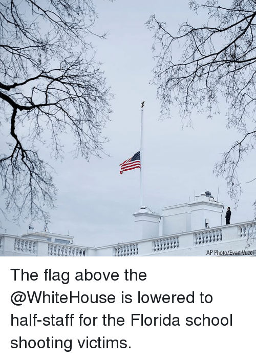 Memes, School, and Florida: AP Pho The flag above the @WhiteHouse is lowered to half-staff for the Florida school shooting victims.