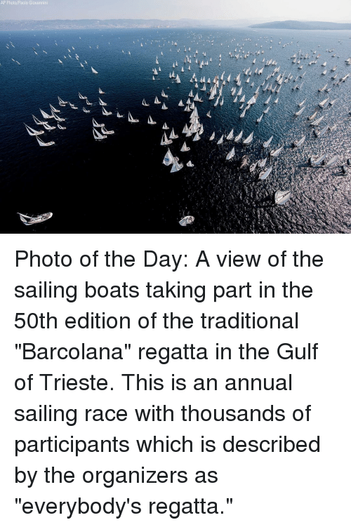 """Memes, Race, and 🤖: AP Photo/Paolo Giovannini Photo of the Day: A view of the sailing boats taking part in the 50th edition of the traditional """"Barcolana"""" regatta in the Gulf of Trieste. This is an annual sailing race with thousands of participants which is described by the organizers as """"everybody's regatta."""""""