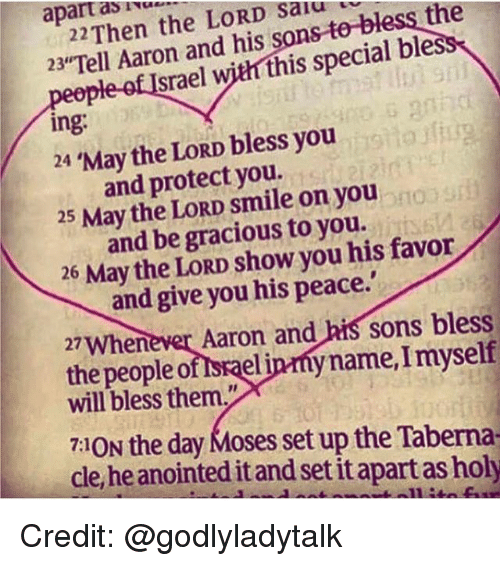 "Memes, Smile, and Moses: apart the LORD Then salu  as  23""Tell Aaron with this special bles  and srael  his S  ing  bless you  24 May the LORD you.  and protect 25 May the LORD smile on you  and be gracious to you.  26 May the LORD show you his favor  and give you his peace.'  27Whenever Aaron and  his sons bless  the people o  spaeljprny name, myself  will bless them.""  7:1ON the day Moses set up the Taberna  cle heanointed itandi setitapart as holy Credit: @godlyladytalk"