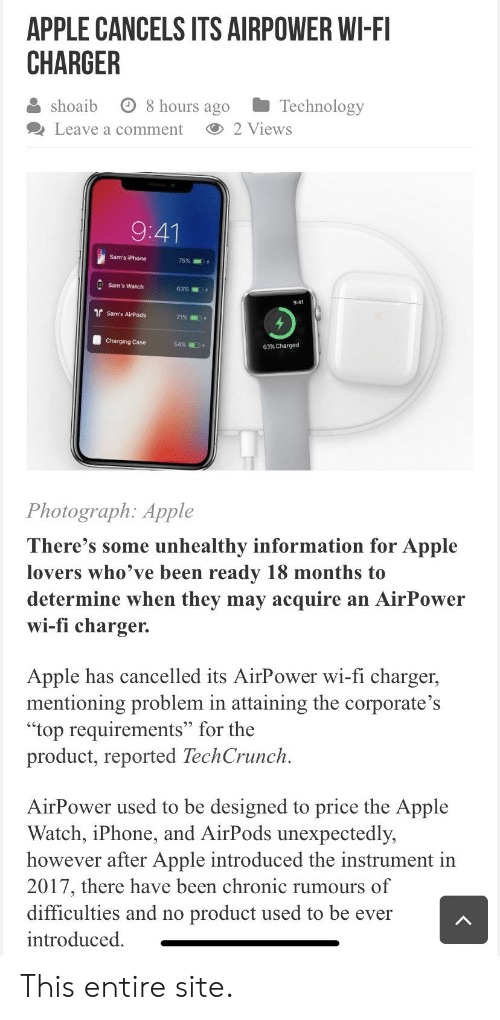 APPLE CANCELS ITS AIRPOWER WI-FI CHARGER Shoaib O 8 Hours