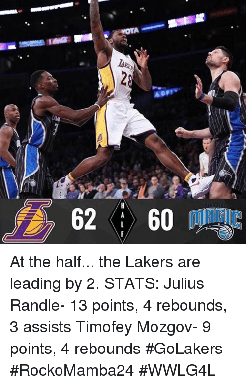 julius randle: Appy  62   60  HALF At the half... the Lakers are leading by 2.  STATS: Julius Randle- 13 points, 4 rebounds, 3 assists Timofey Mozgov- 9 points, 4 rebounds #GoLakers   #RockoMamba24 #WWLG4L