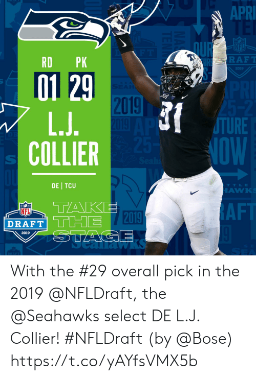 bose: APRI  QUR  NFL  RD PK  RAFT  2019  01 29  2019  TURE  NOW  COLLIER  DE TCU  TTLE  AW  TAKE  DRAFT THE T2019  NFL  AF  2019  1a  DRAFT With the #29 overall pick in the 2019 @NFLDraft, the @Seahawks select DE L.J. Collier! #NFLDraft (by @Bose) https://t.co/yAYfsVMX5b