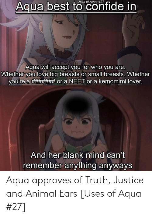 animal ears: Aqua approves of Truth, Justice and Animal Ears [Uses of Aqua #27]