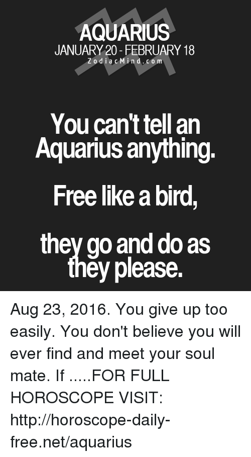 like a bird: AQUARIUS  JANUARY 20- FEBRUARY 18  Z o d i a c M ind. CO m  You can't tell an  Aquarius anything.  Free like a bird,  they go and do as  ey please. Aug 23, 2016. You give up too easily. You don't believe you will ever find and meet your soul mate. If  .....FOR FULL HOROSCOPE VISIT: http://horoscope-daily-free.net/aquarius