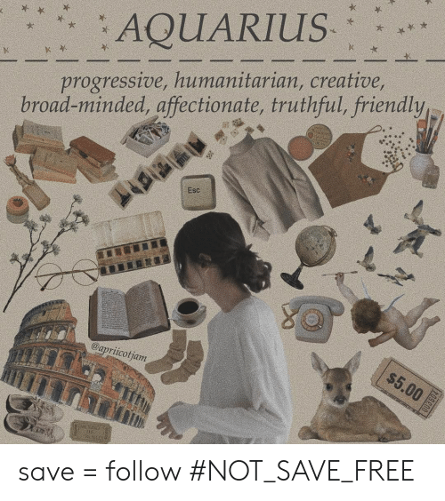 Progressive: AQUARIUS  progressive, humanitarian, creative,  road-minded, affectionate, truthful, friendly  Esc  $5.00  @apriicotjam  003504 save = follow #NOT_SAVE_FREE