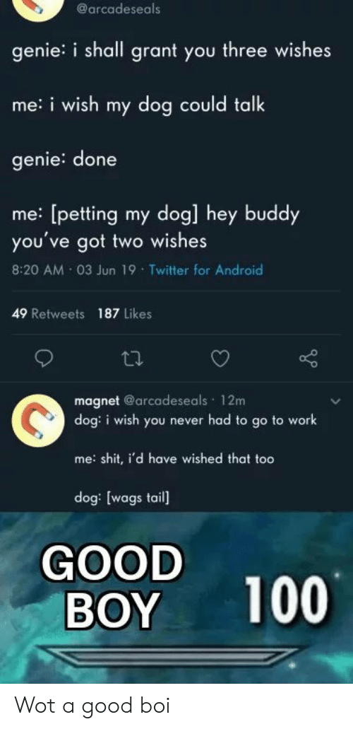 Android, Shit, and Twitter: @arcadeseals  genie: i shall grant you three wishes  me:i wish my dog could talk  genie: done  me: [petting my dog] hey buddy  you've got two wishes  8:20 AM 03 Jun 19 Twitter for Android  49 Retweets 187 Likes  magnet @arcadeseals 12m  dog: i wish you never had to go to work  me: shit, i'd have wished that too  dog: [wags tail]  GOOD  BOY  100 Wot a good boi