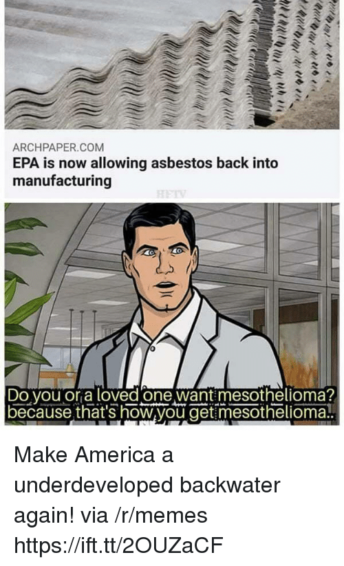 America, Memes, and Back: ARCHPAPER.COM  EPA is now allowing asbestos back into  manufacturing  Do vou or a loved one want mesothelioma?  because that's how,you get mesothelioma! Make America a underdeveloped backwater again! via /r/memes https://ift.tt/2OUZaCF