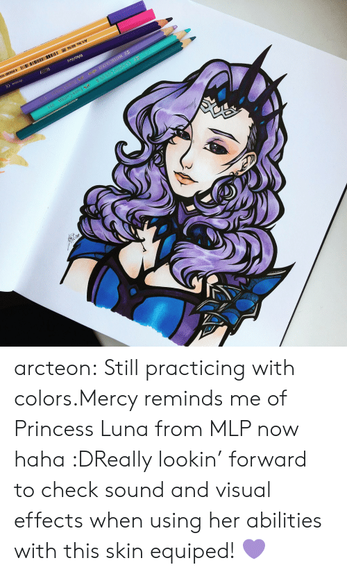 mlp: arcteon:  Still practicing with colors.Mercy reminds me of   Princess Luna from MLP now haha :DReally lookin' forward to check sound and visual effects when using her abilities with this skin equiped!💜