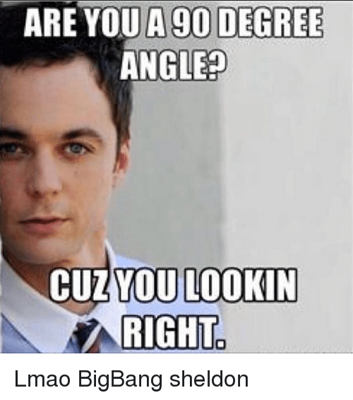 Lmao, Memes, and 🤖: ARE YOU A 90 DEGREE  ANGLE?  CUZYOU LOOKIN  RIGHT Lmao BigBang sheldon