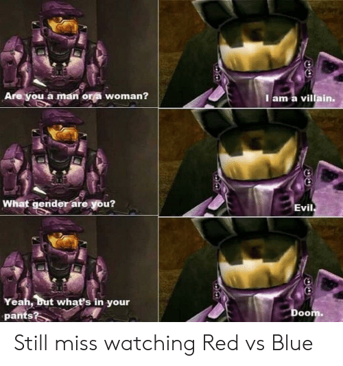 Villain: Are you a man or a woman?  I am a villain.  What gender are you?  Evil  Yeah, but whať's in your  pants?  Doom. Still miss watching Red vs Blue
