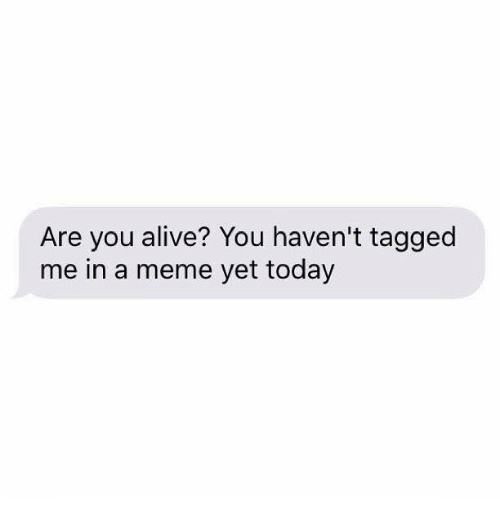 Alive, Meme, and Tagged: Are you alive? You haven't tagged  me in a meme yet today