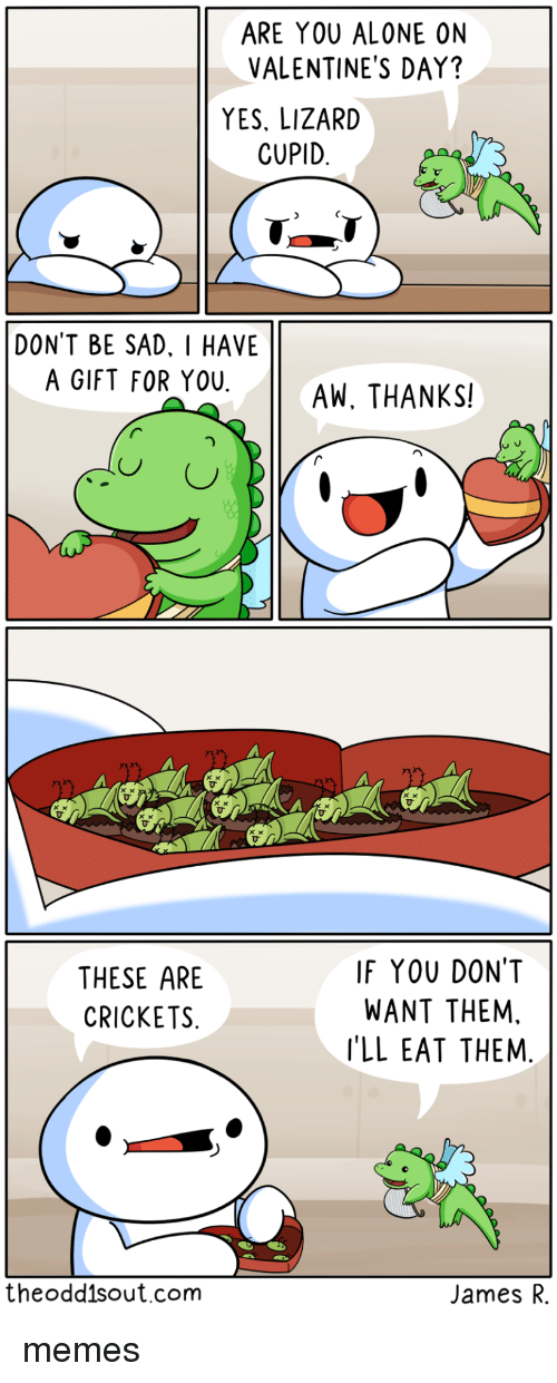 Being Alone, Memes, and Valentine's Day: ARE YOU ALONE ON  VALENTINE'S DAY?  YES, LIZARD  CUPID  DONT BE SAD. I HAVE  A GIFT FOR YOUAW, THANKS!  THESE ARE  CRICKETS  IF YOU DONT  WANT THEM,  'LL EAT THEM  theodd1sout.com  James R. memes