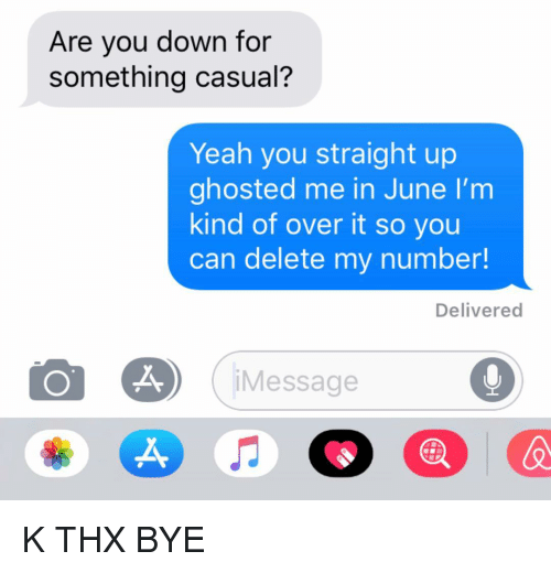 Relationships, Texting, and Yeah: Are you down for  something casual?  Yeah you straight up  ghosted me in June I'm  kind of over it so you  can delete my number!  Delivered  Message  X, K THX BYE