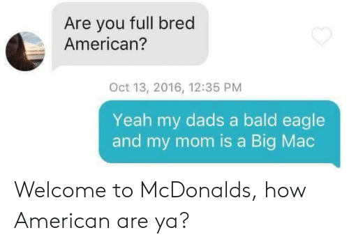 A Big Mac: Are you full bred  American?  Oct 13, 2016, 12:35 PM  Yeah my dads a bald eagle  and my mom is a Big Mac Welcome to McDonalds, how American are ya?