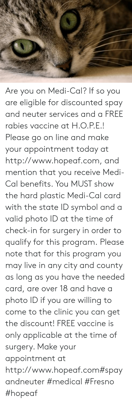 Memes, Free, and Http: Are you on Medi-Cal? If so you are eligible for discounted spay and neuter services and a FREE rabies vaccine at H.O.P.E.! Please go on line and make your appointment today at http://www.hopeaf.com, and mention that you receive Medi-Cal benefits. You MUST show the hard plastic Medi-Cal card with the state ID symbol and a valid photo ID at the time of check-in for surgery in order to qualify for this program. Please note that for this program you may live in any city and county as long as you have the needed card, are over 18 and have a photo ID if you are willing to come to the clinic you can get the discount! FREE vaccine is only applicable at the time of surgery. Make your appointment at http://www.hopeaf.com#spayandneuter #medical #Fresno #hopeaf