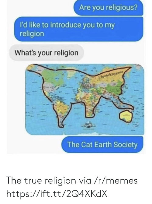 Memes, True, and Earth: Are you religious?  I'd like to introduce you to my  religion  What's your religion  @heckaffaup  The Cat Earth Society The true religion via /r/memes https://ift.tt/2Q4XKdX