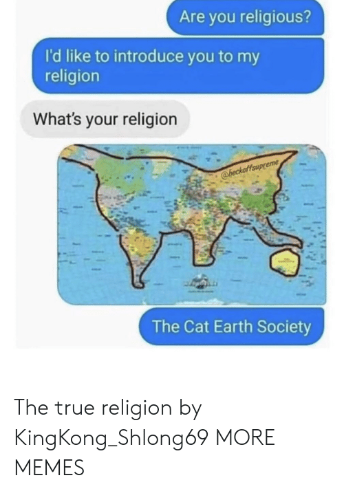 Dank, Memes, and Target: Are you religious?  I'd like to introduce you to my  religion  What's your religion  @heckaffaup  The Cat Earth Society The true religion by KingKong_Shlong69 MORE MEMES