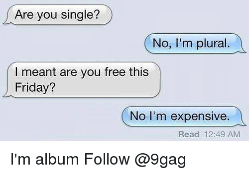 Are You Single: Are you single?  No, I'm plural  l meant are you free this  Friday?  No I'm expensive.  Read 12:49 AM I'm album Follow @9gag