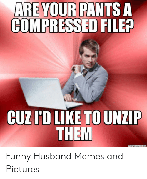 Funny, Memes, and Pictures: ARE YOUR PANTS A  COMPRESSED FILE?  CUZI'D LIKE TO UNZIP  THEM Funny Husband Memes and Pictures