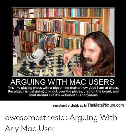 """Tumblr, Anonymous, and Blog: ARGUING WITH MAC USERS  """"It's like playing chess with a pigeon; no matter how good I am at chess  the pigeon is just going to knock over the pieces, crap on the board, and  strut around like it's victorious"""" Anonymous  you should probably go to TheMetaPicture.com awesomesthesia:  Arguing With Any Mac User"""
