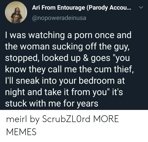 """They Call Me: Ari From Entourage (Parody Accou...  @nopoweradeinusa  Iwas watching a porn once and  the woman sucking off the guy,  stopped, looked up & goes """"you  know they call me the cum thief,  I'll sneak into your bedroom at  night and take it from you"""" it's  stuck with me for years meirl by ScrubZL0rd MORE MEMES"""
