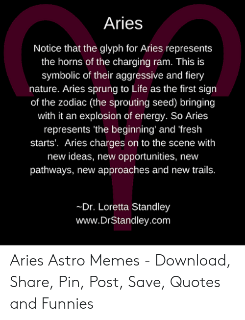 Aries Notice That the Glyph for Aries Represents the Horns