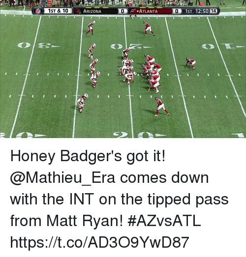 Inting: ARIZONA  0 Honey Badger's got it!  @Mathieu_Era comes down with the INT on the tipped pass from Matt Ryan! #AZvsATL https://t.co/AD3O9YwD87