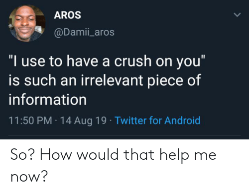 "Android, Crush, and Twitter: AROS  @Damii_aros  ""I use to have a crush on you""  is such an irrelevant piece of  information  11:50 PM 14 Aug 19 Twitter for Android So? How would that help me now?"
