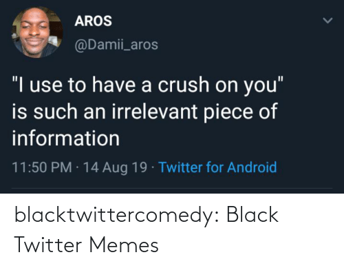 "Twitter Memes: AROS  @Damii_aros  ""I use to have a crush on you""  is such an irrelevant piece of  information  11:50 PM · 14 Aug 19 · Twitter for Android blacktwittercomedy:  Black Twitter Memes"