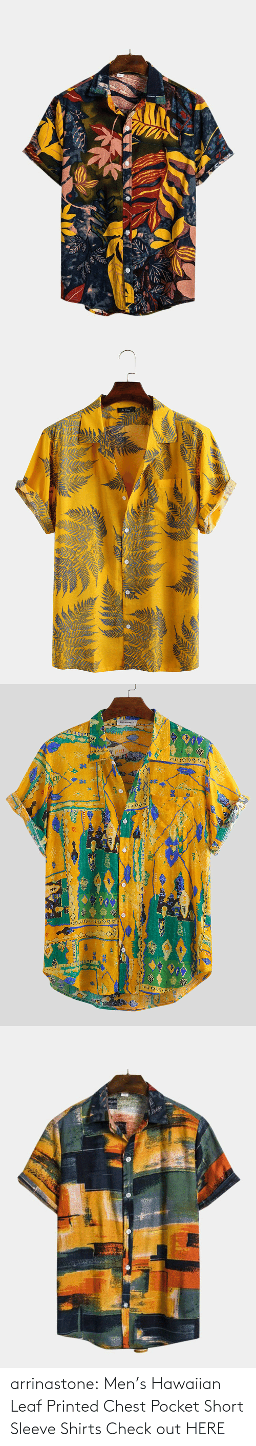 Chest: arrinastone: Men's Hawaiian Leaf Printed Chest Pocket Short Sleeve Shirts  Check out HERE