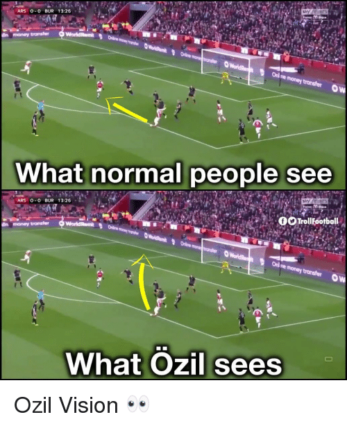 Memes, Money, and Vision: ARS 0-0 BUR 13:26  money transfer  What normal people see  ARS 0 0 BUR 13:26  Trollootball  WorldRem  lin money  Online  What Ozil sees Ozil Vision 👀