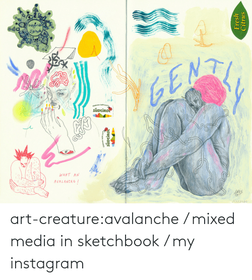 creature: art-creature:avalanche / mixed media in sketchbook / my instagram