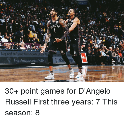 Af, Nba, and Games: ARTA  Buy and sell your Nets tickets af the O  @ Ticketmaster.com/NBA 30+ point games for D'Angelo Russell  First three years: 7 This season: 8