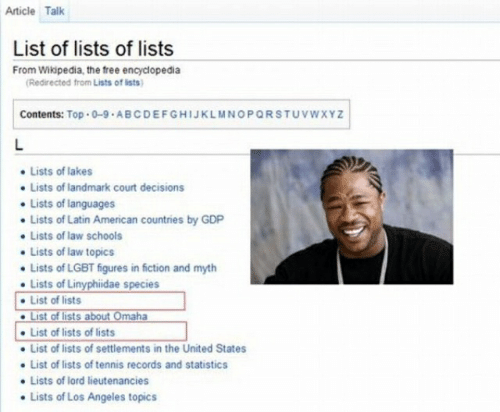 Article Talk List of Lists of Lists From Wikipedia the Free