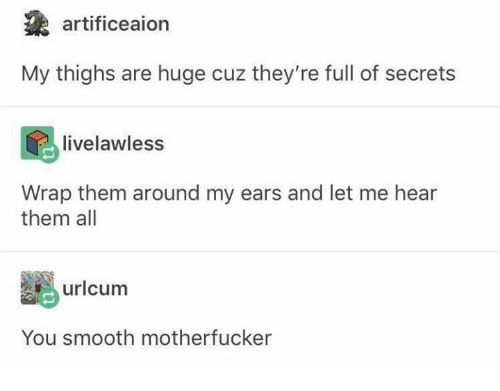 Smooth, Humans of Tumblr, and Secrets: artificeaion  thighs are huge cuz they're full of secrets  livelawless  Wrap them around my ears and let me hear  them all  Be) uricum  You smooth motherfucker