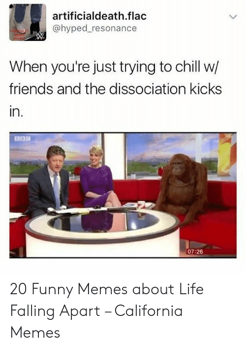 Funny Memes About Life: artificialdeath.flac  @hyped_resonance  When you're just trying to chill w/  friends and the dissociation kicks  in.  07:26 20 Funny Memes about Life Falling Apart – California Memes