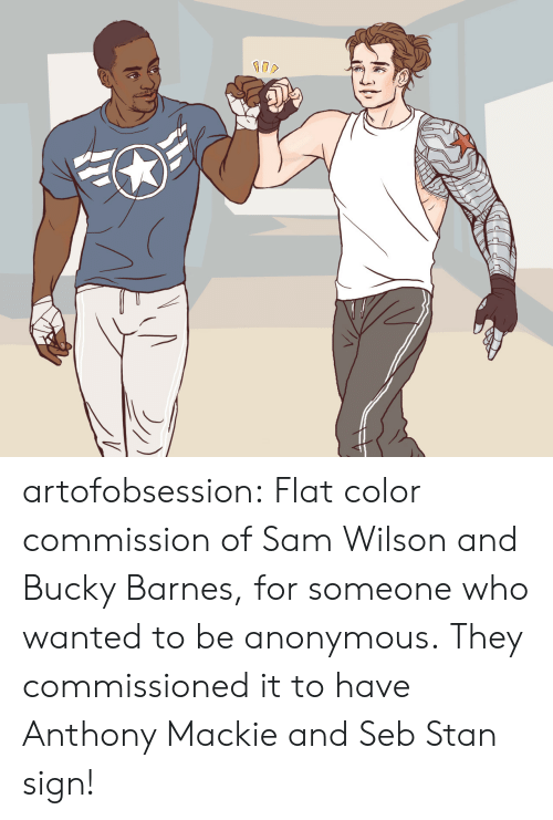 Stan, Target, and Tumblr: artofobsession:  Flat color commission of Sam Wilson and Bucky Barnes, for someone who wanted to be anonymous. They commissioned it to have Anthony Mackie and Seb Stan sign!