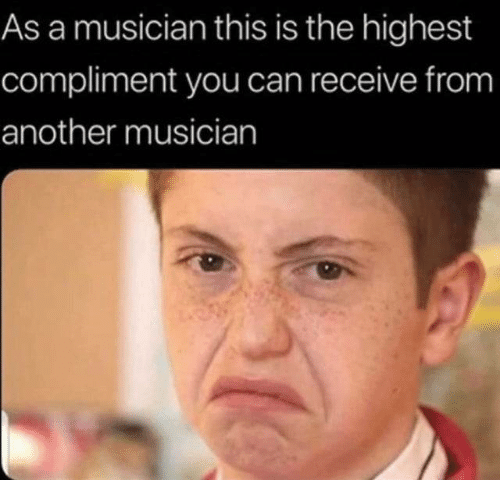 compliment: As a musician this is the highest  compliment you can receive from  another musician