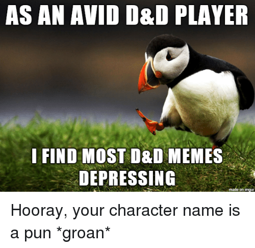 D D Memes: AS AN AVID D&D PLAYER  I FIND MOST D&D MEMES  DEPRESSING  on imqu Hooray, your character name is a pun *groan*