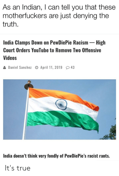 Racism, True, and Videos: As an Indian, I can tell you that these  motherfuckers are just denying the  truth.  India Clamps Down on PewDiePie Racism High  Court Orders YouTube to Remove Two Offensive  Videos  을 Daniel Sanchez April 11, 2019 43  India doesn't think very fondly of PewDiePie's racist rants. It's true