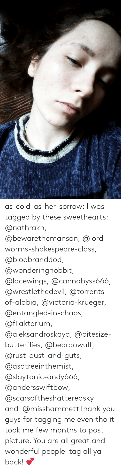 Torrents: as-cold-as-her-sorrow:  I was tagged by these sweethearts: @nathrakh, @bewarethemanson, @lord-worms-shakespeare-class, @blodbranddod, @wonderinghobbit, @lacewings, @cannabyss666, @wrestlethedevil, @torrents-of-alabia, @victoria-krueger, @entangled-in-chaos, @filakterium, @aleksandroskaya, @bitesize-butterflies, @beardowulf, @rust-dust-and-guts, @asatreeinthemist, @slaytanic-andy666, @andersswiftbow, @scarsoftheshatteredsky and  @misshammettThank you guys for tagging me even tho it took me few months to post picture. You are all great and wonderful peopleI tag all ya back! 💕