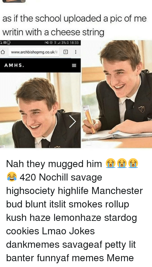 Cookiness: as if the school uploaded a pic of me  writin with a cheese string  NIO 39%, 18:33  www.archbishopmg.co.uk/t  A MHS Nah they mugged him 😭😭😭😂 420 Nochill savage highsociety highlife Manchester bud blunt itslit smokes rollup kush haze lemonhaze stardog cookies Lmao Jokes dankmemes savageaf petty lit banter funnyaf memes Meme