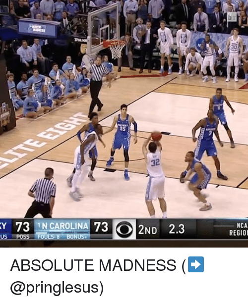 Sports, Carolina, and Posse: as  KY 73 IN CAROLINA 73 2ND 2.3  US POSS FOULS 8 BONUS.  NCA  REGION ABSOLUTE MADNESS (➡️ @pringlesus)