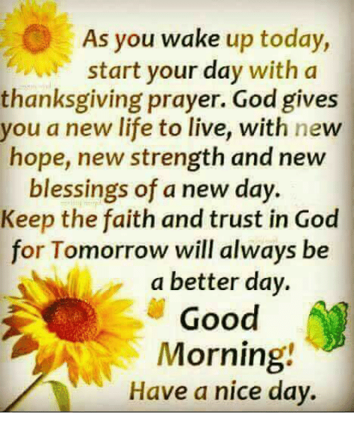 As You Wake Up Today Start Your Day With a Thanksgiving