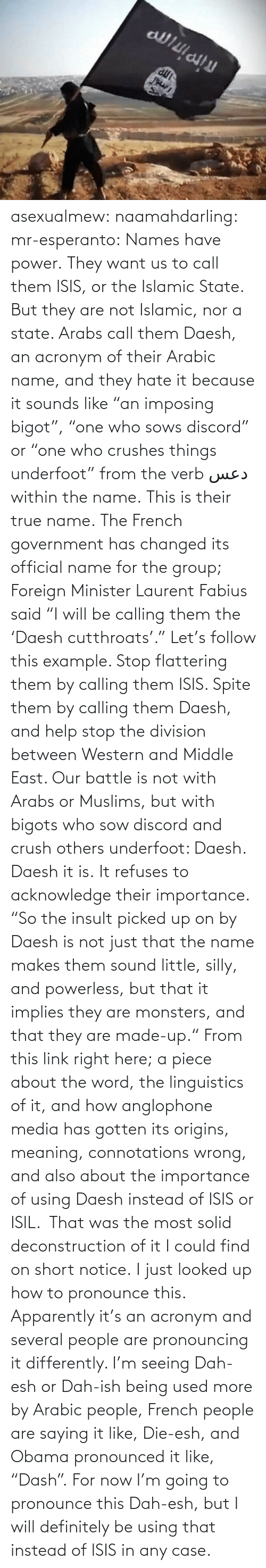 "Apparently, Crush, and Definitely: asexualmew:  naamahdarling:  mr-esperanto:  Names have power.  They want us to call them ISIS, or the Islamic State.  But they are not Islamic, nor a state. Arabs call them Daesh, an acronym of their Arabic name, and they hate it because it sounds like ""an imposing bigot"", ""one who sows discord"" or ""one who crushes things underfoot"" from the verb دعس within the name.  This is their true name.  The French government has changed its official name for the group; Foreign Minister Laurent Fabius said ""I will be calling them the 'Daesh cutthroats'.""  Let's follow this example. Stop flattering them by calling them ISIS.  Spite them by calling them Daesh, and help stop the division between Western and Middle East.  Our battle is not with Arabs or Muslims, but with bigots who sow discord and crush others underfoot: Daesh.  Daesh it is. It refuses to acknowledge their importance. ""So the insult picked up on by Daesh is not just that the name makes them sound little, silly, and powerless, but that it implies they are monsters, and that they are made-up."" From this link right here; a piece about the word, the linguistics of it, and how anglophone media has gotten its origins, meaning, connotations wrong, and also about the importance of using Daesh instead of ISIS or ISIL.  That was the most solid deconstruction of it I could find on short notice.  I just looked up how to pronounce this. Apparently it's an acronym and several people are pronouncing it differently.  I'm seeing Dah-esh or Dah-ish being used more by Arabic people, French people are saying it like, Die-esh, and Obama pronounced it like, ""Dash"". For now I'm going to pronounce this Dah-esh, but I will definitely be using that instead of ISIS in any case."